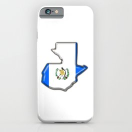 Guatemala Map with Guatemalan Flag iPhone Case
