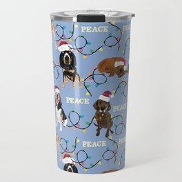 Santa hat coonhounds lights blue Travel Mug