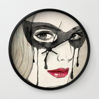 mask Wall Clocks featuring Mask by Vivian Lau