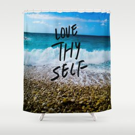Love Thy Self Quote Summer Beach Shower Curtain