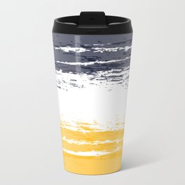 Pastel Color Blocks - Orange & Navy Blue Travel Mug