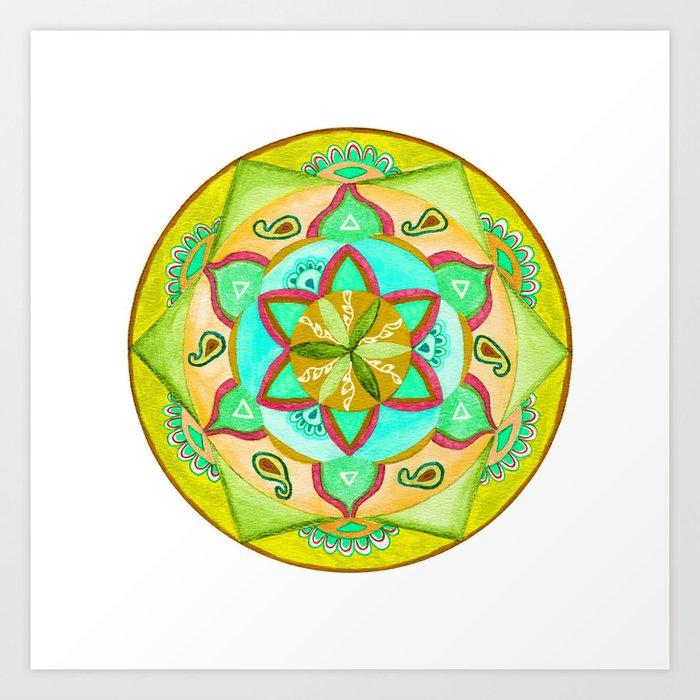 Amber Fields Mandala Art Print
