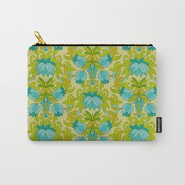 Turquoise and Green Leaves 1960s Retro Vintage Pattern Carry-All Pouch