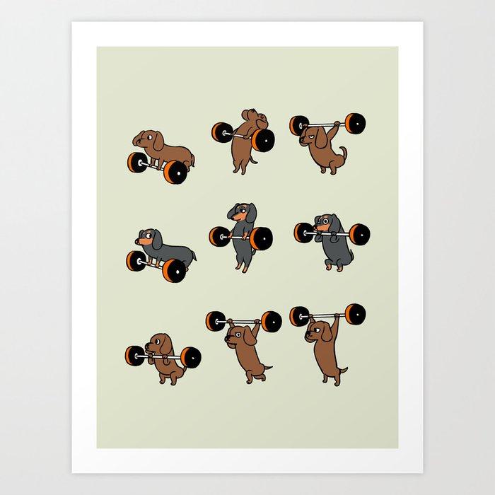 Olympic Lifting Dachshund Art Print