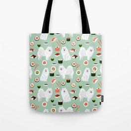 Japanese Spitz sushi kawaii dog portrait custom pet lover pattern by pet friendly Tote Bag