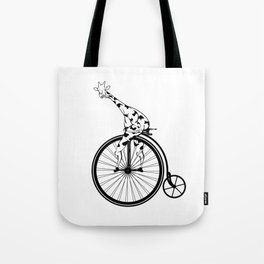 Giraffe Riding A Penny-Farthing Bicycle Tote Bag