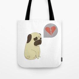 Broken hearted-pug Tote Bag