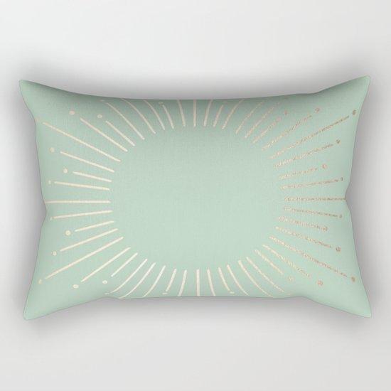 Simply Sunburst in Pastel Cactus Green Rectangular Pillow