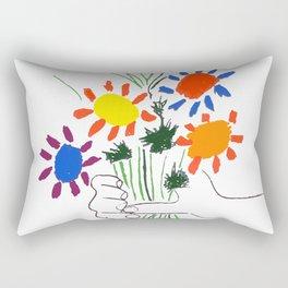 Pablo Picasso Bouquet Of Peace 1958 (Flowers Bouquet With Hands), T Shirt, Artwork Rectangular Pillow