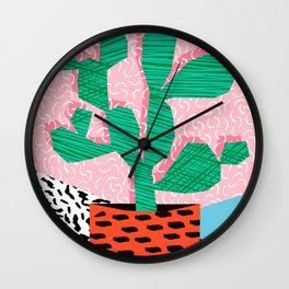Cool Hang - cactus minimal retro memphis design 1980s 80s style dots pattern pink neon desert art Wall Clock