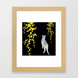 Japanese Cats Series - Yellow Leaves Framed Art Print