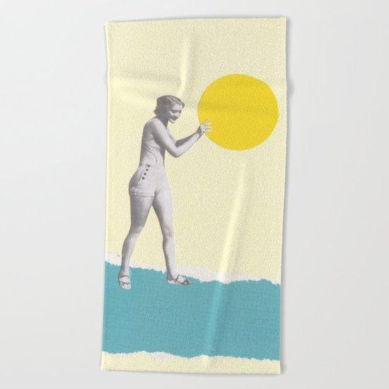 She Caught the Sun Beach Towel