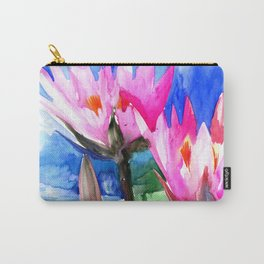 Pink Water lilies , lotus, lily pad Carry-All Pouch