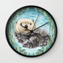 Sea Otter in Kelp Wreath Wall Clock