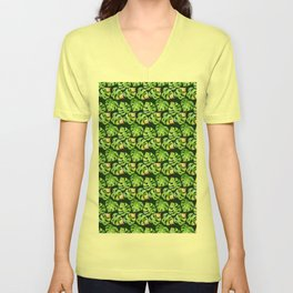 Tropical leaves seamless pattern, exotic monstera jungle print Unisex V-Neck