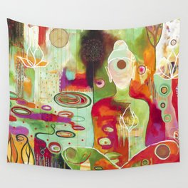 """Rooted In Love"" Original Painting by Flora Bowley Wall Tapestry"