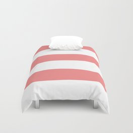 Wide Horizontal Stripes - White and Coral Pink Duvet Cover