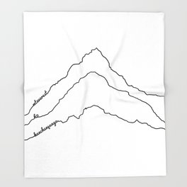 Tallest Mountains in the World B&W / Mt Everest K2 Kanchenjunga / Minimalist Line Drawing Art Print Throw Blanket