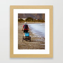Cycling On The Foreshore Framed Art Print