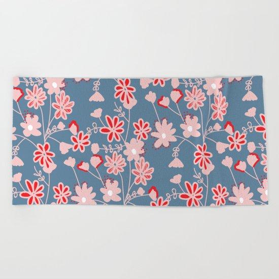 Red-Pink Flower Pattern Beach Towel