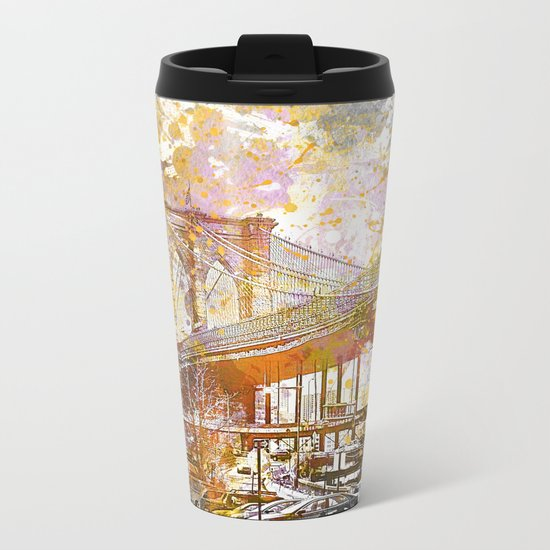 Brooklyn Bridge New York Mixed Media Art Metal Travel Mug