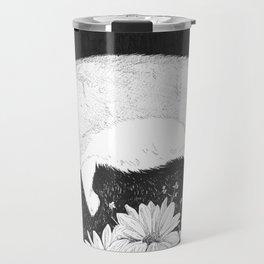 bunny in black and white Travel Mug