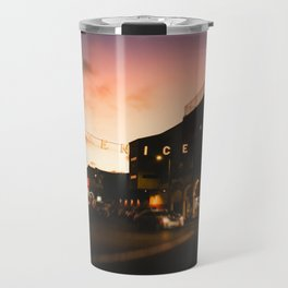 Venice Beach, palm trees, vintage, oceanside, people,  beach photography, California photography Travel Mug