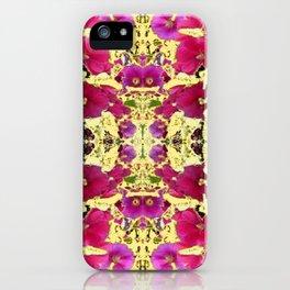 DESIGN OF PINK & RED HOLLYHOCKS YELLOW GARDEN iPhone Case