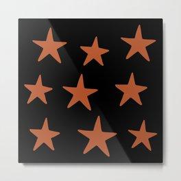 Star Pattern Orange & Black Metal Print