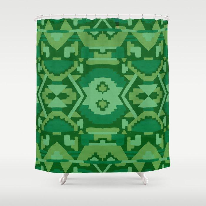 Geometric Aztec In Forest Green Shower Curtain By Amandalaurelatkins
