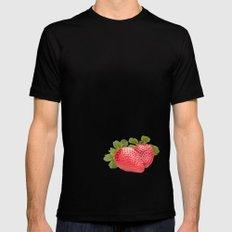Strawberries Black MEDIUM Mens Fitted Tee