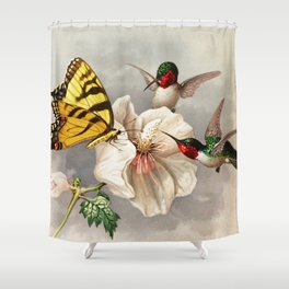 Ruby-throated Hummingbirds & Butterfly Portrait Shower Curtain