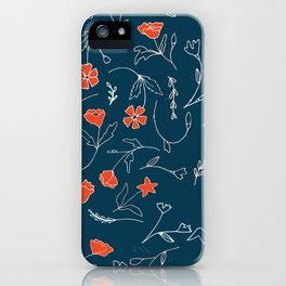 Orange pink pastel navy blue modern floral iPhone Case