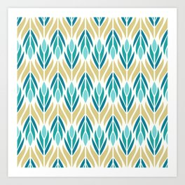 Mid Century Modern Abstract Floral Pattern in Turquoise Teal Aqua and Marigold Art Print