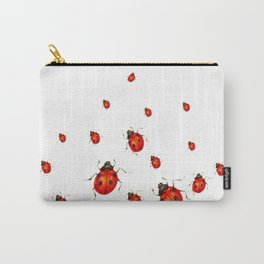 ABSTRACT RED LADY BUGS CRAWLING ON WHITE COLOR Carry-All Pouch