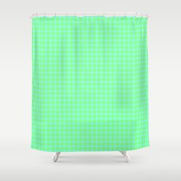 Blue On Green Plaid Shower Curtain
