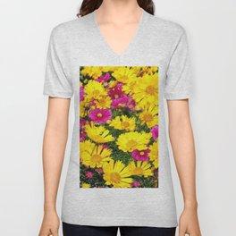 YELLOW COREOPSIS & FUCHSIA GARDEN FLOWERS Unisex V-Neck