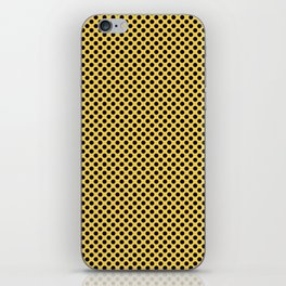 Primrose Yellow and Black Polka Dots iPhone Skin