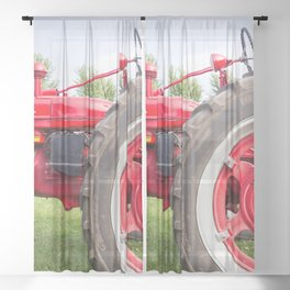 Vintage Tractor Sheer Curtain