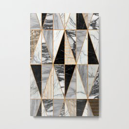 Marble Triangles - Black and White Metal Print