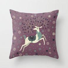 Prancing Reindeer Throw Pillow