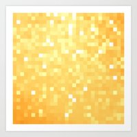 pixel art Art Prints featuring Golden pixeLs by 2sweet4words Designs