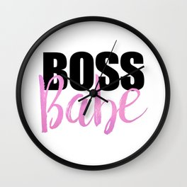 Boss Babe | Black & Pink Wall Clock