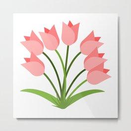 Pink Tulips Green Leaves Metal Print