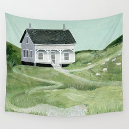 Cottage on the beach Wall Tapestry
