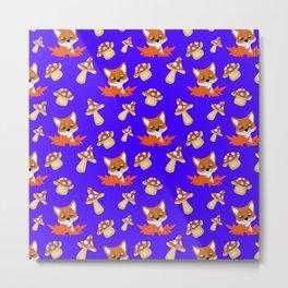 Cute happy red foxes, fallen leaves and wild mushrooms seamless pattern. Fall season. Hello November Metal Print