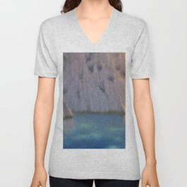 Calanque (Six in the Evening) Twilight by Lucien Lévy-Dhurmer Unisex V-Neck