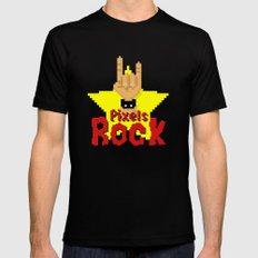 Pixels Rock MEDIUM Mens Fitted Tee Black