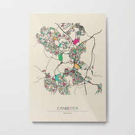 Colorful City Maps: Canberra, Australia Metal Print