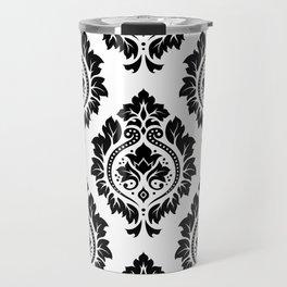 Decorative Damask Art I Black on White Travel Mug
